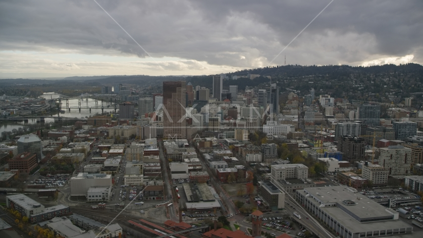 Skyscrapers, downtown buildings, and US Bancorp Tower near the Willamette River in Downtown Portland, Oregon Aerial Stock Photo AX155_054.0000000F | Axiom Images