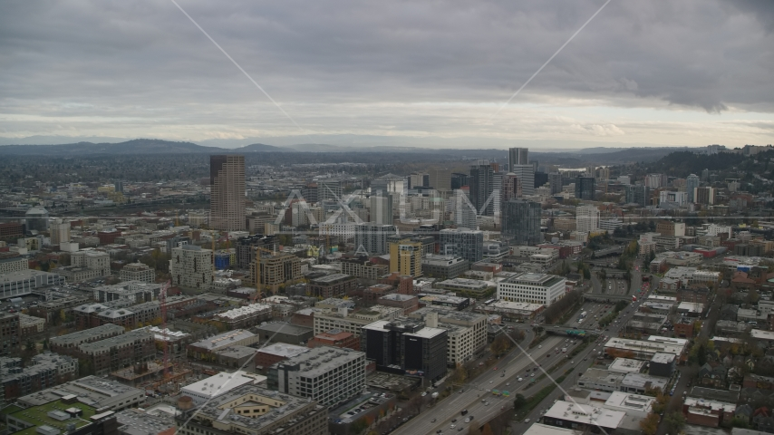 Downtown Portland cityscape and I-405 in Oregon Aerial Stock Photos | AX155_055.0000159F
