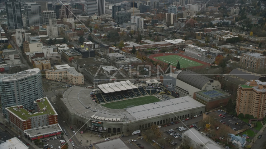 Providence Park in Goose Hollow, Portland, Oregon Aerial Stock Photo AX155_057.0000007F | Axiom Images