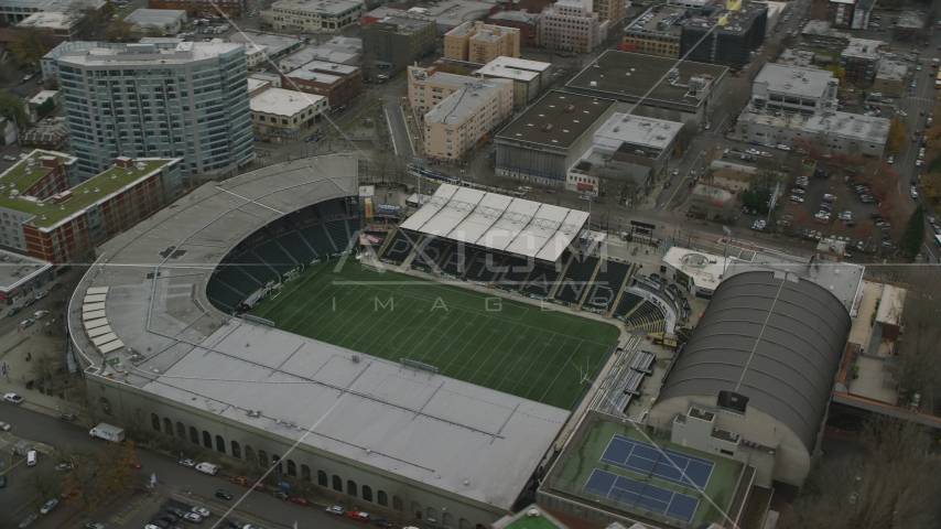 Providence Park in Goose Hollow, Portland, Oregon Aerial Stock Photo AX155_057.0000173F | Axiom Images