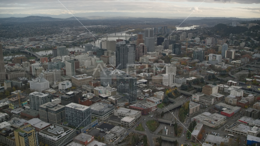 Downtown Portland, Oregon cityscape and the I-405 freeway Aerial Stock Photo AX155_067.0000088F | Axiom Images