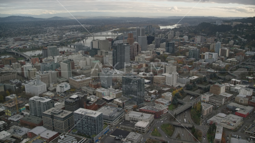 Downtown Portland, Oregon cityscape and the I-405 freeway Aerial Stock Photos AX155_067.0000137F | Axiom Images