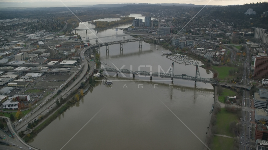 Marquam Bridge, Riverplace Marina, Hawthorne Bridge near Downtown Portland, Oregon Aerial Stock Photos | AX155_069.0000000F