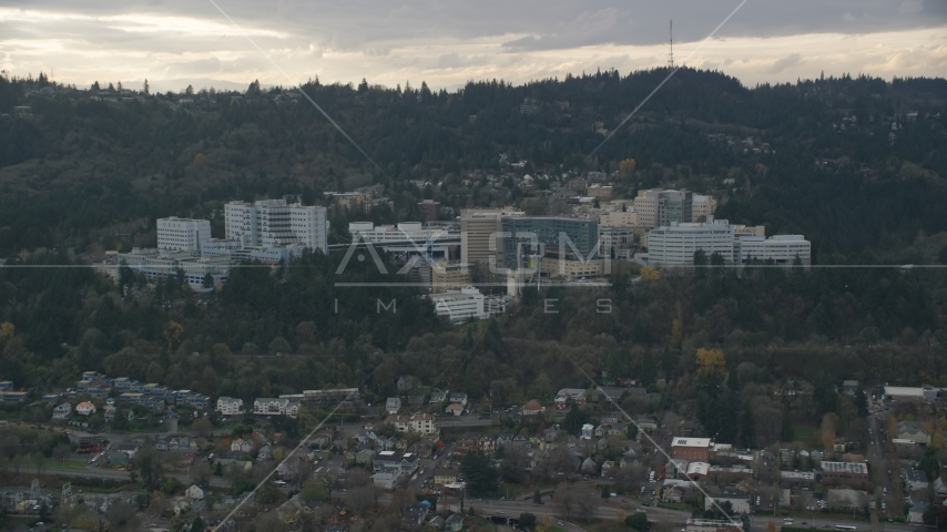 Oregon Health and Science University in the hills over Portland, Oregon Aerial Stock Photos | AX155_079.0000000F