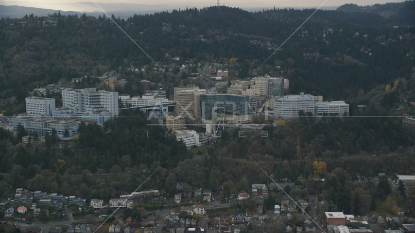 Oregon Health and Science University in the hills over Portland, Oregon Aerial Stock Photo AX155_079.0000207F | Axiom Images