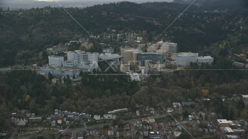 The Oregon Health and Science University in the hills over Portland, Oregon Aerial Stock Photo AX155_080.0000049F | Axiom Images