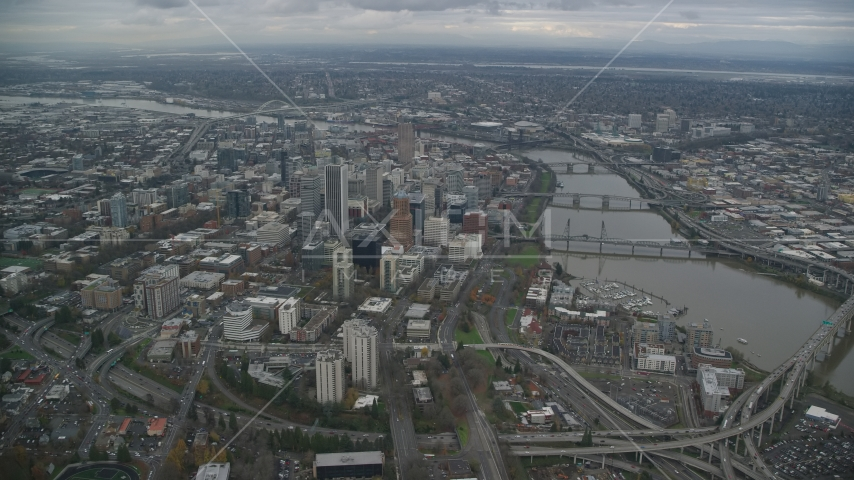 Downtown Portland cityscape and the Willamette River in Oregon Aerial Stock Photo AX155_081.0000209F | Axiom Images
