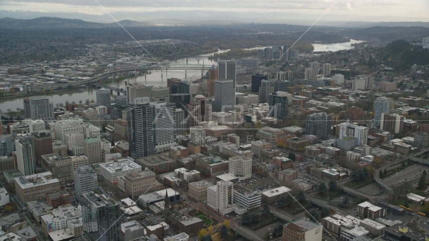 Downtown Portland cityscape with Willamette River behind it in Oregon Aerial Stock Photo AX155_100.0000313F | Axiom Images
