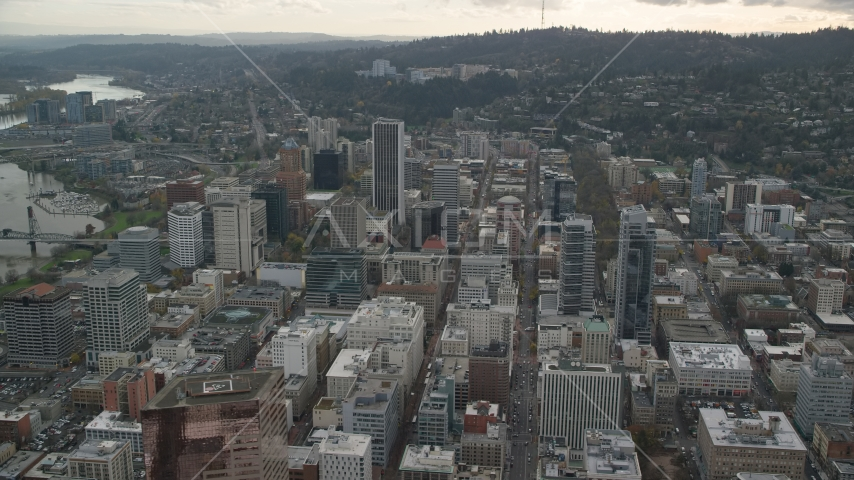 The Downtown Portland cityscape in Oregon Aerial Stock Photos | AX155_102.0000322F
