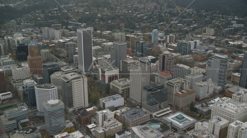 Skyscrapers in Downtown Portland, Oregon Aerial Stock Photos | AX155_104.0000205F
