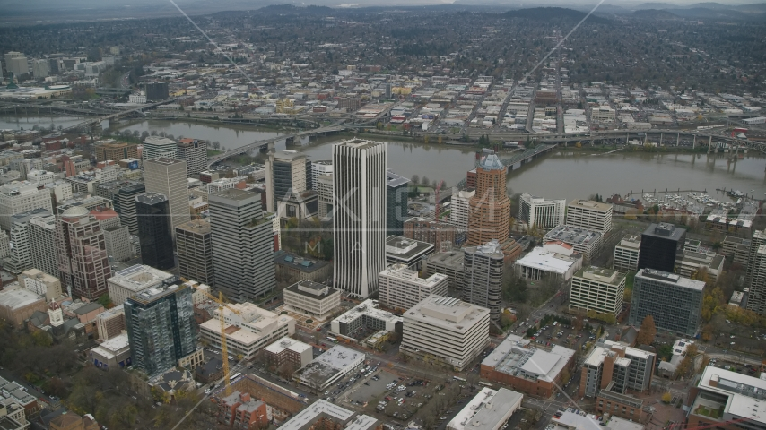 Wells Fargo Center, KOIN Center, and high-rises near the Willamette River in Downtown Portland, Oregon Aerial Stock Photo AX155_108.0000325F | Axiom Images