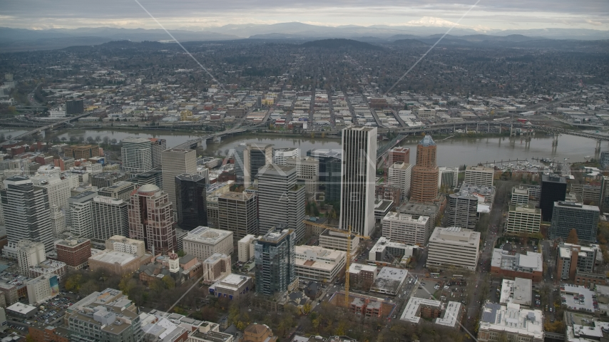 Downtown skyscrapers and high-rises near the Willamette River in Downtown Portland, Oregon Aerial Stock Photos | AX155_109.0000158F