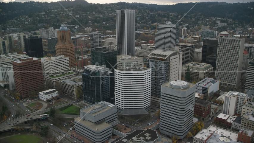High-rises near KOIN Center in Downtown Portland, Oregon Aerial Stock Photos | AX155_115.0000074F
