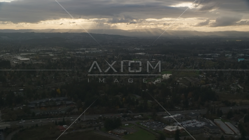 Suburban neighborhood with a lot of trees in Beaverton, Oregon, sunset Aerial Stock Photo AX155_123.0000000F | Axiom Images