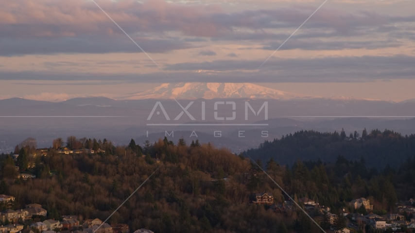 Mount Hood seen from hillside homes in Northwest Portland, Oregon Aerial Stock Photos | AX155_136.0000000F