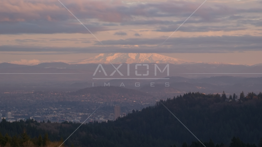 Mount Hood seen from hills in Northwest Portland, Oregon Aerial Stock Photos | AX155_137.0000233F
