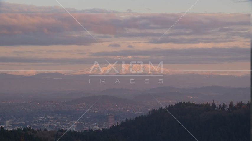 Mount Hood and Downtown Portland at sunset, seen from forest and hills in Northwest Portland, Oregon Aerial Stock Photos | AX155_139.0000222F