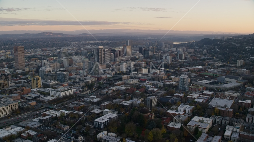 Providence Park near I-405 and Downtown Portland, Oregon, sunset Aerial Stock Photos | AX155_144.0000296F