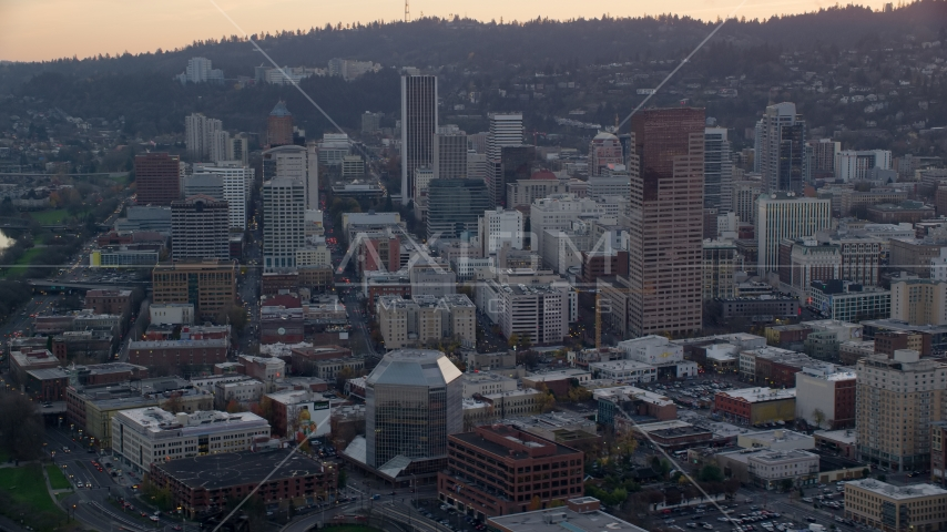 Skyscrapers and high-rises in Downtown Portland, Oregon, sunset Aerial Stock Photo AX155_156.0000192F | Axiom Images