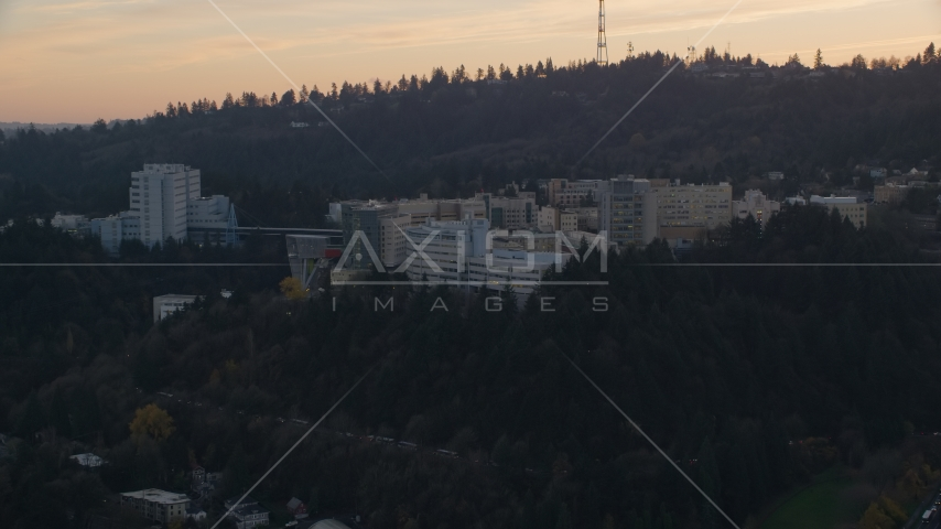 The Oregon Health and Science University in Portland, Oregon, sunset Aerial Stock Photo AX155_167.0000120F | Axiom Images