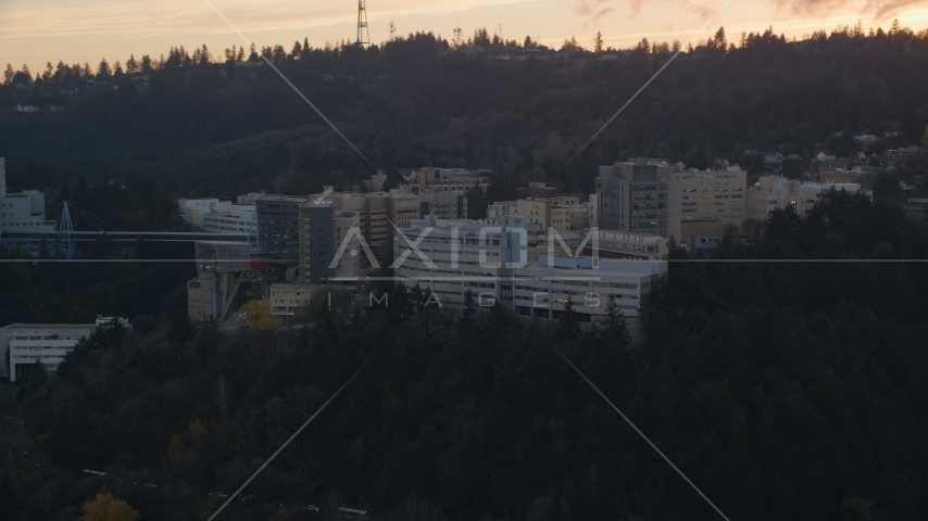 The Oregon Health and Science University in Portland, Oregon, sunset Aerial Stock Photos | AX155_167.0000267F
