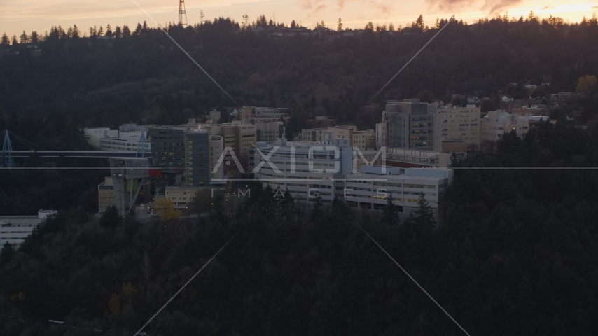 Oregon Health and Science University in Portland, Oregon, sunset Aerial Stock Photos | AX155_168.0000000F