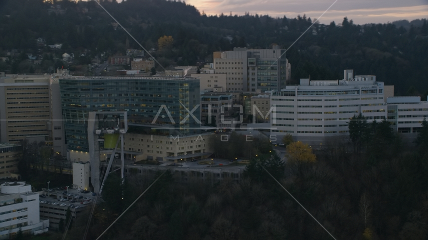 Oregon Health and Science University in Portland, Oregon, sunset Aerial Stock Photo AX155_168.0000265F | Axiom Images