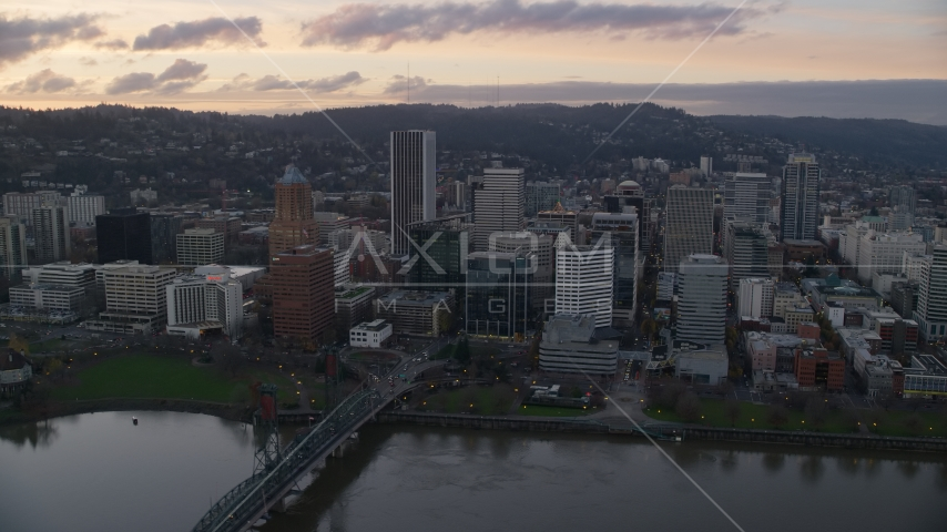 Hawthorne Bridge, waterfront park, and Downtown Portland at sunset in Oregon Aerial Stock Photos   AX155_173.0000275F