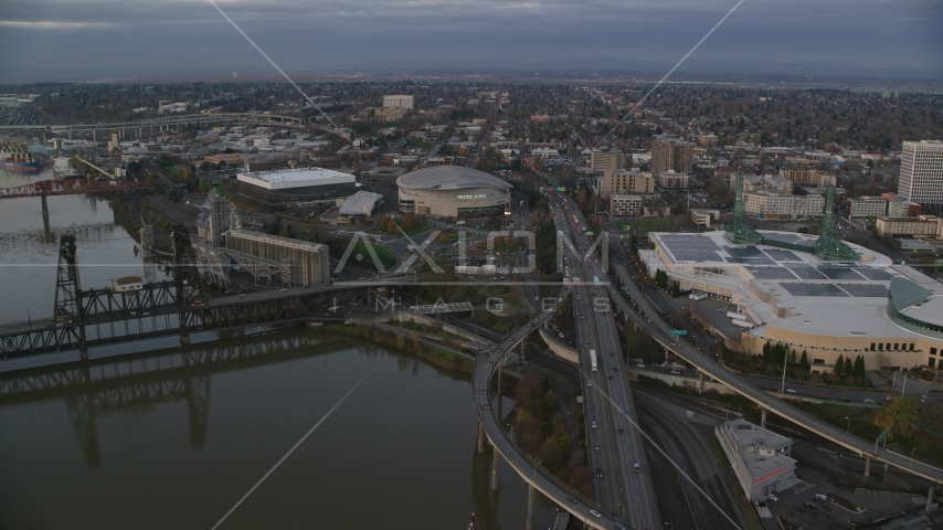 I-5 to Veterans Memorial Colosseum and Moda Center in Lloyd District, Portland, Oregon, sunset Aerial Stock Photo AX155_175.0000000F | Axiom Images