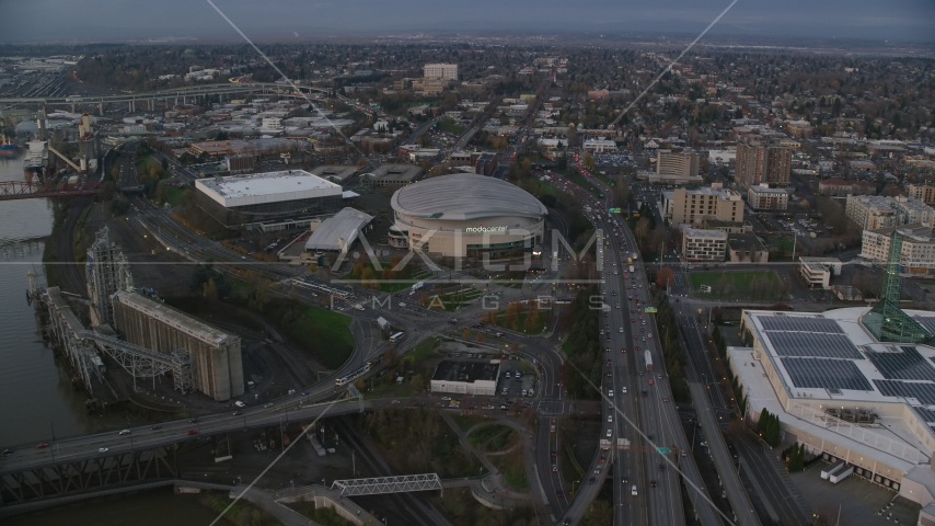 I-5 near Veterans Memorial Colosseum and Moda Center in Lloyd District, Portland, Oregon, sunset Aerial Stock Photos | AX155_175.0000153F