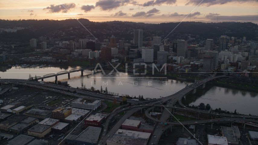 The Willamette River and Downtown Portland at sunset in Oregon Aerial Stock Photo AX155_178.0000000F | Axiom Images