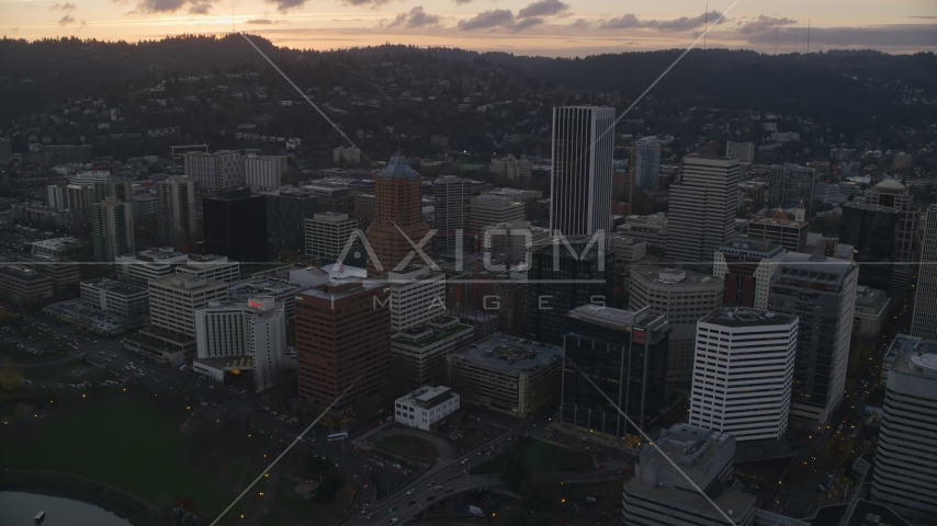 Downtown Portland at sunset in Oregon Aerial Stock Photos | AX155_179.0000263F