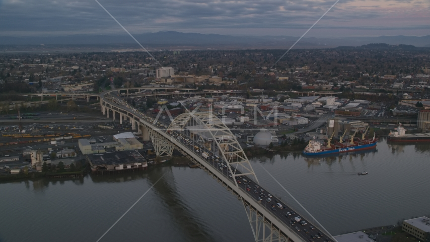 The Fremont Bridge with very heavy traffic at sunset, Portland, Oregon Aerial Stock Photo AX155_182.0000216F | Axiom Images