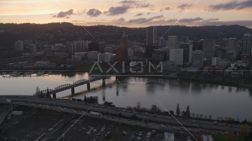 Hawthorne Bridge and Downtown Portland at sunset, Oregon Aerial Stock Photo AX155_189.0000007F | Axiom Images