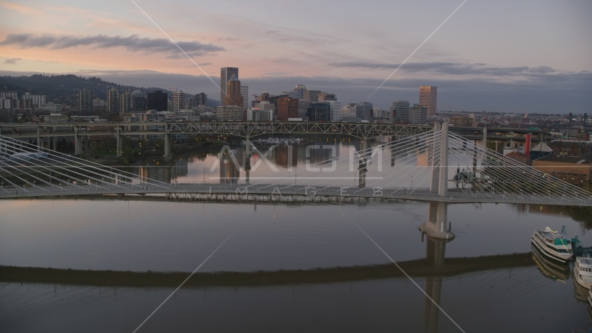 Tilikum Crossing, Marquam Bridge and downtown skyline at sunset, Downtown Portland, Oregon Aerial Stock Photos | AX155_200.0000031F