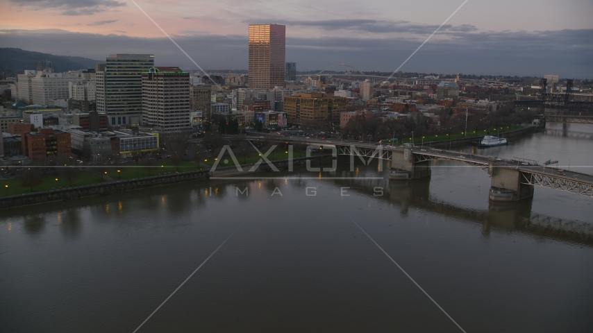Morrison Bridge, waterfront park and downtown skyline at sunset, Downtown Portland, Oregon Aerial Stock Photos | AX155_203.0000000F