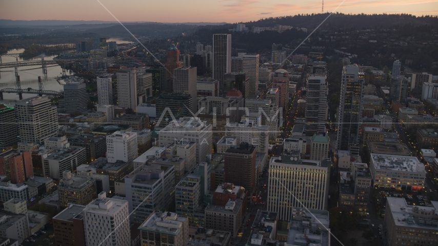 North Park Blocks, skyscrapers and high-rises, Downtown Portland, Oregon Aerial Stock Photo AX155_213.0000332F | Axiom Images