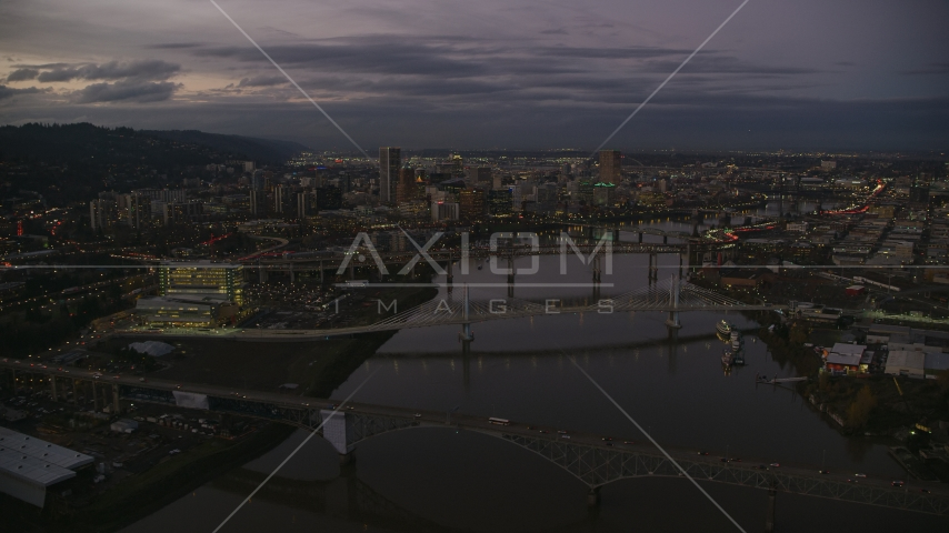 Downtown skyscrapers and bridges over the Willamette River at sunset, Downtown Portland, Oregon Aerial Stock Photos | AX155_249.0000000F