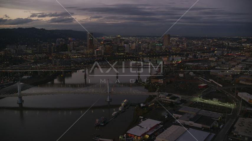 Downtown skyscrapers and bridges over the Willamette River at sunset, Downtown Portland, Oregon Aerial Stock Photos | AX155_249.0000359F