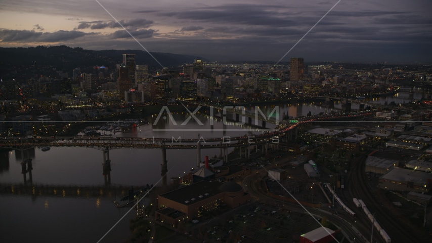 Skyscrapers and bridges over the Willamette River at sunset, Downtown Portland, Oregon Aerial Stock Photos | AX155_250.0000324F