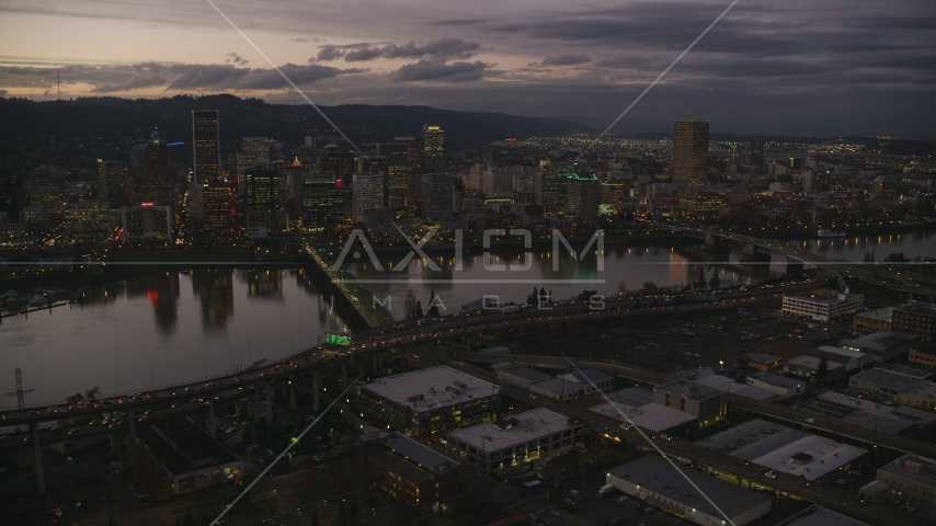 Skyscrapers and bridges over the Willamette River at sunset, Downtown Portland, Oregon Aerial Stock Photos | AX155_251.0000324F