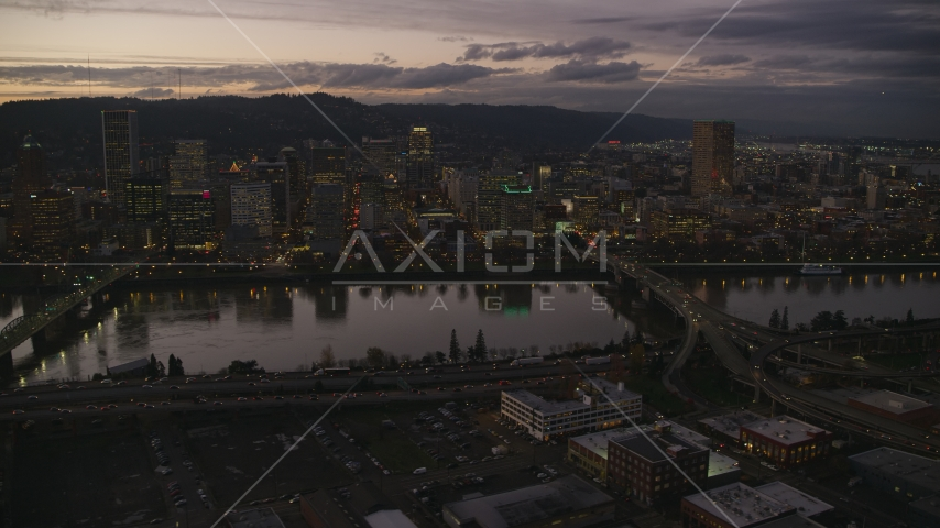 Skyscrapers and bridges over the Willamette River at sunset, Downtown Portland, Oregon Aerial Stock Photos | AX155_252.0000258F