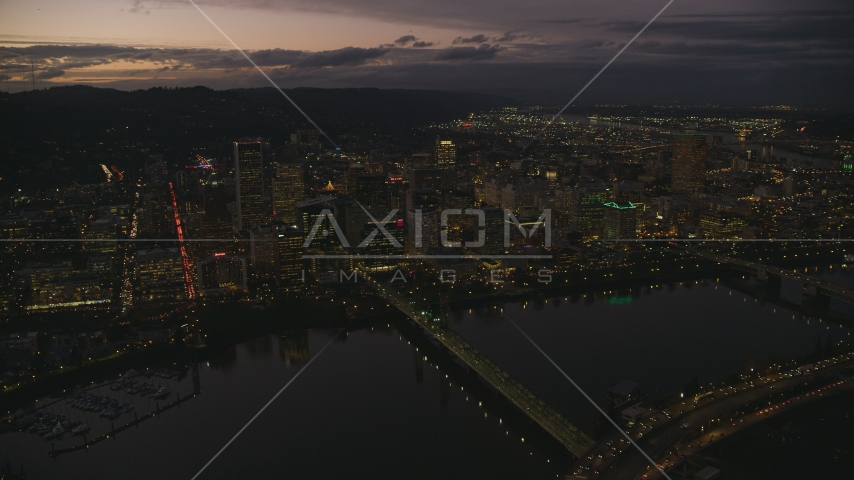 Downtown Portland's cityscape, Hawthorne Bridge, and the Willamette River at sunset, Oregon Aerial Stock Photo AX155_269.0000150F | Axiom Images