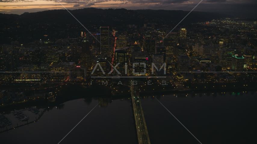 Hawthorne Bridge, Downtown Portland's skyscrapers at sunset, Oregon Aerial Stock Photos | AX155_270.0000000F
