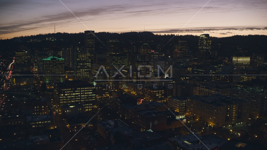 Downtown skyscrapers at sunset, Portland, Oregon Aerial Stock Photo AX155_281.0000100F | Axiom Images