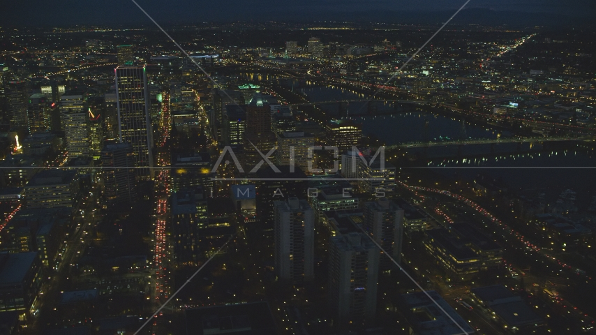 Wells Fargo Center and KOIN Center near the river at night in Downtown Portland, Oregon Aerial Stock Photos | AX155_289.0000295F