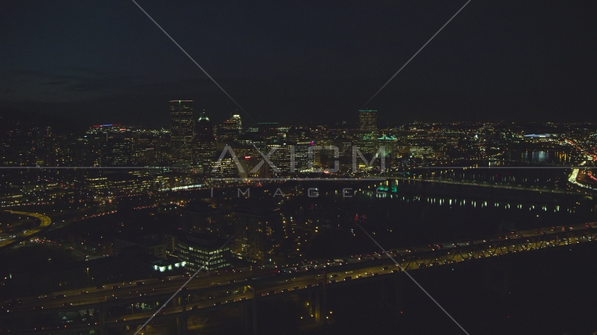 Marquam Bridge and the Downtown Portland city skyline at night, Oregon Aerial Stock Photos | AX155_326.0000329F