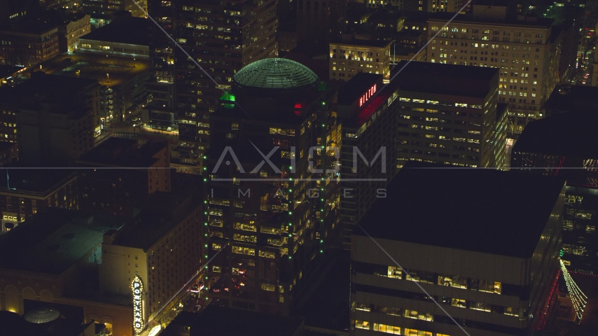 1000 Broadway building and Hilton Portland at night in Downtown Portland, Oregon Aerial Stock Photo AX155_378.0000030F | Axiom Images