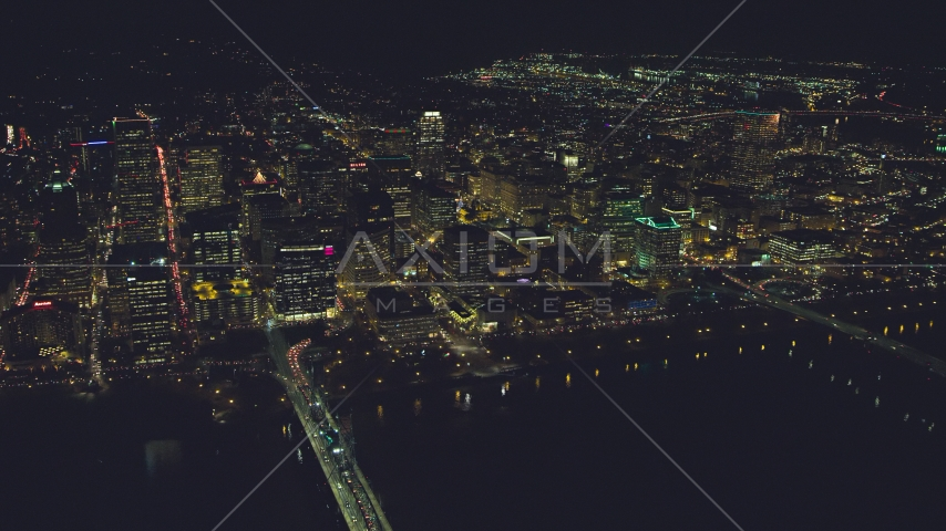 Downtown from over the Willamette River, Portland, Oregon, night Aerial Stock Photos | AX155_407.0000000F