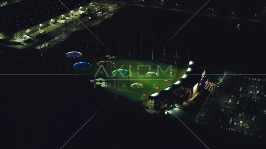 Topgolf course in Hillsboro, Oregon at night Aerial Stock Photo AX155_477.0000036F | Axiom Images
